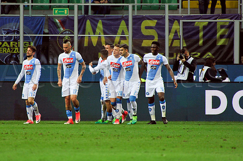 April 30th 2017, San Siro Stadium, Milan, Italy;  teammates of Josè Maria Callejon  of Napoli celebrate the first goal in the 43rd minute during the Serie A football match, Inter Milan versus Napoli;