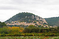 The Seguret village clinging to the hillside, viewed over a vineyard, Domaine de Cabasse. Vaucluse, France, Europe