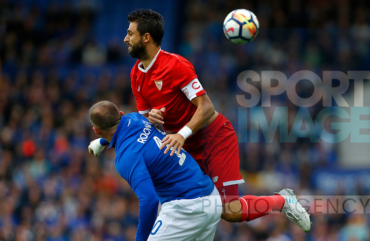 Everton's Wayne Rooney in action with Sevilla's Nicolas Pareja (R) during the pre season friendly match at Goodison Park Stadium, Liverpool. Picture date 6th August 2017. Picture credit should read: Paul Thomas/Sportimage