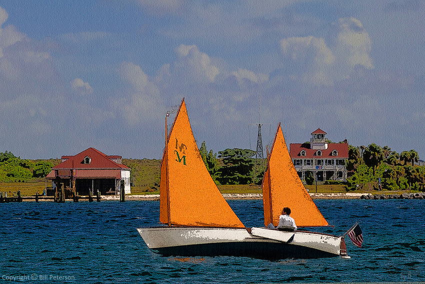 "Peanut Island on the lee.  Calling up memories of the simple pleasure of small boat sailing, ""Peanut Island"" nudges us to recall fair wind on a spring day afloat in this composite work reminiscent of simpler times  not so long past."