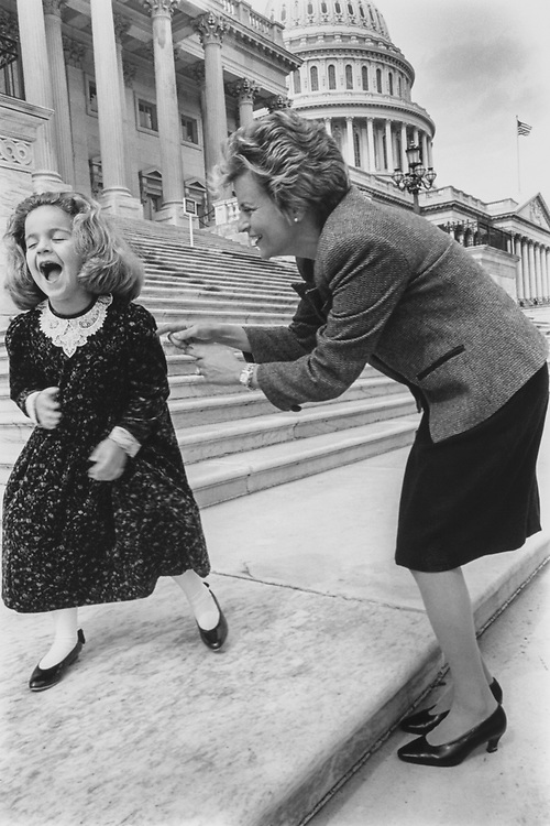 Patricia Ros-Lehtinen (6 1/2) getting tickled by her mom Rep. Ileana Ros-Lehtinen, R-Fla., she was spending the week with mom getting to see some sights, on March 10, 1994. (Photo by Maureen Keating/CQ Roll Call via Getty Images)