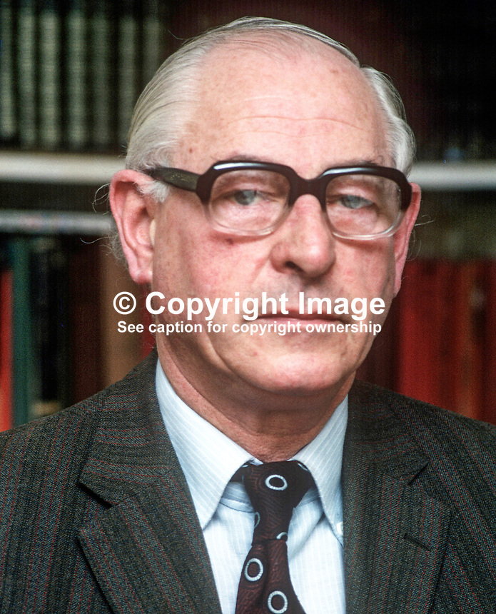 Stephen McGonigle, Londonderry, trade unionist, politician, N Ireland Ombudsman, 1974 to 1979, 197803000114a.<br /> <br /> Copyright Image from Victor Patterson,<br /> 54 Dorchester Park, <br /> Belfast, UK, BT9 6RJ<br /> <br /> t1: +44 28 9066 1296 (from Rep of Ireland 048 9066 1296)<br /> t2: +44 28 9002 2446 (from Rep of Ireland 048 9002 2446)<br /> <br /> m: +44 7802 353836<br /> <br /> e: victorpatterson@me.com<br /> www.victorpatterson.com<br /> <br /> Please see my Terms and Conditions of Use at www.victorpatterson.com. It is IMPORTANT that you familiarise yourself with them.<br /> <br /> Images used on the Internet must be visibly watermarked i.e. &copy; Victor Patterson<br /> within the body of the image and copyright metadata must not be deleted. Images <br /> used on the Internet have a size restriction of 4kbs and will be chargeable at current<br />  NUJ rates unless agreed otherwise.<br /> <br /> This image is only available for the use of the download recipient i.e. television station, newspaper, magazine, book publisher, etc, and must not be passed on to any third <br /> party. It is also downloaded on condition that each and every usage is notified within 7 days to victorpatterson@me.com<br /> <br /> The right of Victor Patterson to be identified as the author is asserted in accordance with The Copyright Designs And Patents Act (1988). All moral rights are asserted.