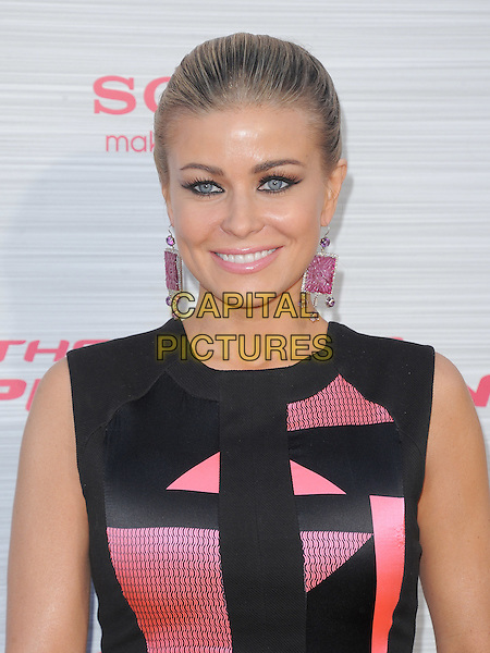 Carmen Electra.'The Amazing Spider-Man' Premiere held at Regency Village Theater in Westwood, California, USA. .June 28th, 2012.headshot portrait dangling earrings black pink sleeveless  .CAP/RKE/DVS.©DVS/RockinExposures/Capital Pictures.