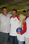 "Guiding Light's Jordan Clarke (Billy), Robert Newman (Josh) and Crystal Hunt (Lizzie) at the ""Bloss"" Bowling Event during the Guiding Light weekend on October 15, 2005 at the Port Authority, NY (Photo by Sue Coflin)"