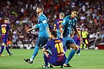 Supercopa de Espa&ntilde;a - Ida.<br /> FC Barcelona vs R. Madrid: 1-3.<br /> Lionel Messi &amp; Varane.