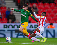 12th February 2020; Bet365 Stadium, Stoke, Staffordshire, England; English Championship Football, Stoke City versus Preston North End; Bruno Martins Indi of Stoke City tackles Sean Maguire of Preston North End - Strictly Editorial Use Only. No use with unauthorized audio, video, data, fixture lists, club/league logos or 'live' services. Online in-match use limited to 120 images, no video emulation. No use in betting, games or single club/league/player publications