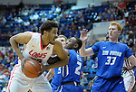 February 20, 2016 - Colorado Springs, Colorado, U.S. -   New Mexico forward, Tim Willimas #32, drives for the basket during an NCAA basketball game between the University of New Mexico Lobos and the Air Force Academy Falcons at Clune Arena, United States Air Force Academy, Colorado Springs, Colorado.    Air Force defeats New Mexico 76-72.