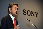 April 12, 2012, Tokyo Japan - .Sony Corp's new president and CEO Kazuo Hirai, presents strategic and financial targets for the coming three years, in Tokyo on Thursday, April 12, 2012. Sony planed to cut 10,000 jobs worldwide over the next year its global workforce, and try to turn around its money-losing TV business. (Photo by Koichi Mitsui/AFLO) -tm-