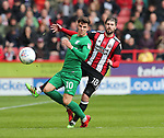 Josh Harrop of Preston North End and Kieron Freeman of Sheffield Utd during the championship match at the Bramall Lane Stadium, Sheffield. Picture date 28th April 2018. Picture credit should read: Simon Bellis/Sportimage