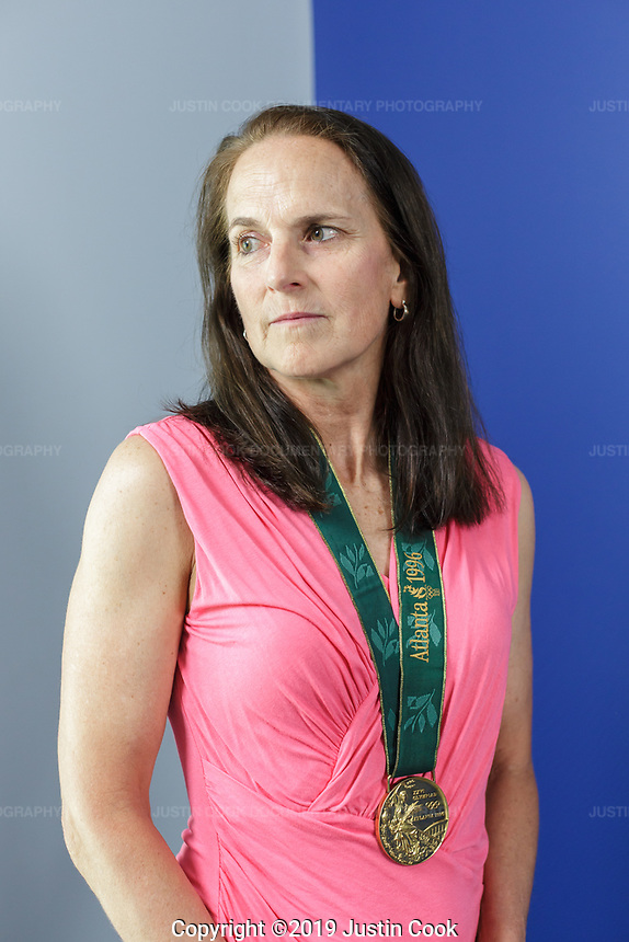 Portraits of Carla Overbeck, Assistant Coach of Duke University's Women's Soccer Team, and her gold medal from the 1996 Atlanta Summer Olympic Games at Duke University in Durham, North Carolina, Monday, June 24, 2019  (Justin Cook)
