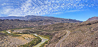 An aerial pano view of the Rio Grande River as it flow through west Texas along the boder of Texas and Mexico. You can see the Mexico mountains and the River Road below in the Big Ben State park.