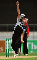 NZ's Kyle Mills bowls during the 2nd ODI cricket match between the New Zealand Black Caps and India at Westpac Stadium, Wellington, New Zealand on Friday, 6 March 2009. Photo: Dave Lintott / lintottphoto.co.nz