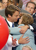 Boston, MA - July 29, 2004 -- United States Senator John Edwards (Democrat of North Carolina) embraces his wife on the podium of the 2004 Democratic National Convention in Boston, Massachusetts on July 29, 2004..Credit: Ron Sachs / CNP