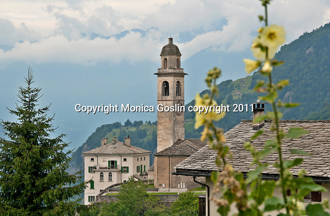The mountain town of Soglio, Switzerland a town the Bregaglia Valley which dates back to 1219 and is said to be one of the most picturesque towns in Switzerland; Graubunden Canton