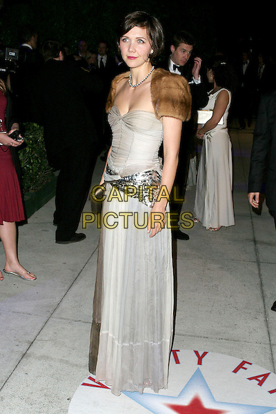 MAGGIE GYLLENHAAL.2005 Vanity Fair Oscar Party held at Morton's Restaurant. West Hollywood, CA.February 27th, 2005.Photo Credit: Jacqui Wong/AdMedia.full length cream dress sequin wrap fur stole wrap.www.capitalpictures.com.sales@capitalpictures.com.© Capital Pictures.