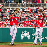 28 September 2014: Washington Nationals infielder Anthony Rendon (6) pulls in an infield fly while shortstop Ian Desmond looks on during action against the Miami Marlins at Nationals Park in Washington, DC. The Nationals shut out the Marlins 1-0, caping the season with the first Nationals no-hitter in modern times. The win also notched a 96 win season for the Nats: the best record in the National League. Mandatory Credit: Ed Wolfstein Photo *** RAW (NEF) Image File Available ***