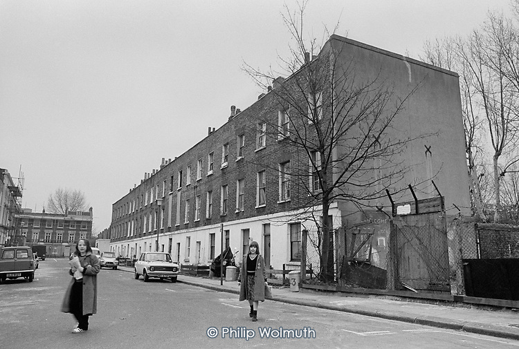 A row of squatted houses in Carol Street, Camden Town, London, which was later granted short-life status and subsequently became a council-supported housing co-operative.