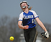 Meghan Vecchione #6, Calhoun pitcher, delivers to the plate in the top of the fourth inning of a Nassau AA-I/AA-II crossover game against Baldwin at Calhoun High School on Saturday, April 14, 2018. She tossed a shutout struck out 15 batters in Calhoun's 9-0 win.