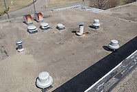 Roof Replacement and Mechanical Upgrades Stratford School For Aviation Maintenance Technicians.  Project No: BI-RT-860<br /> Contractor: Silktown Roofing, Manchester CT.<br /> James R Anderson Photography   New Haven CT   photog.com<br /> Date of Photograph: 13 April 2014<br /> Camera View: Northeast, Roof B   Image No. 27