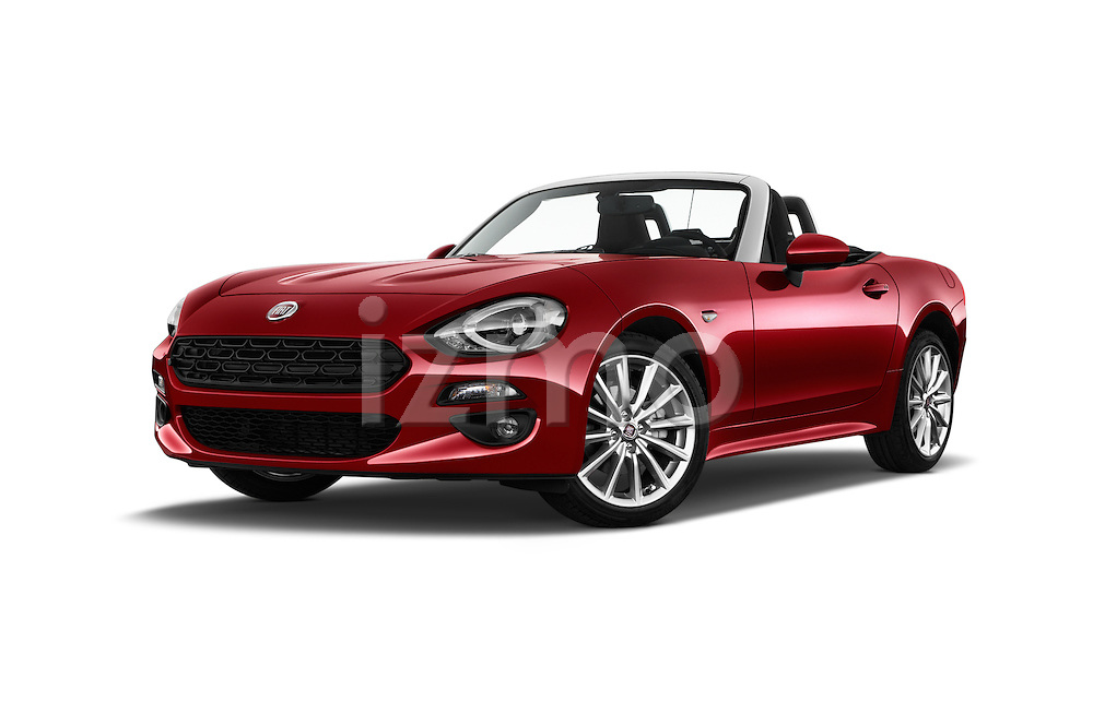 Stock pictures of low aggressive front three quarter view of 2016 Fiat 124-Spider Lusso 2 Door Convertible Low Aggressive