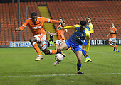18/12/18 The Emirates FA Cup, 2nd Round Replay Blackpool v Solihull Moor<br /> <br /> Donervon Daniels challenges Jordan Murphy