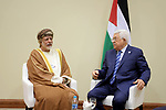 Palestinian President Mahmoud Abbas meets with the Minister of Foreign Affairs of the Sultanate of Oman at the Dead Sea, Jordan April 6, 2019. Photo by Thaer Ganaim