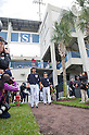 Hiroki Kuroda, Masahiro Tanaka (Yankees),<br /> FEBRUARY 15, 2014 - MLB : Pitcher Hiroki Kuroda (L) and Masahiro Tanaka of the New York Yankees enter during the first day of the team's spring training baseball camp at George M. Steinbrenner Field in Tampa, Florida, United States.<br /> (Photo by Thomas Anderson/AFLO) (JAPANESE NEWSPAPER OUT)