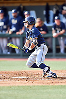 Pittsburgh Panthers second baseman Alex Amos (14) swings at a pitch during a game against the North Carolina Tar Heels at Boshamer Stadium on March 17, 2018 in Chapel Hill, North Carolina. The Tar Heels defeated the Panthers 4-0. (Tony Farlow/Four Seam Images)