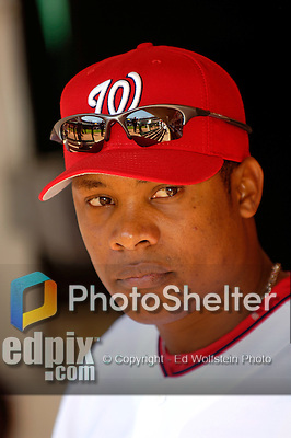 11 April 2006: Jose Guillen, right fielder for the Washington Nationals, awaits the pre-game ceremonies of the Nationals' Home Opener against the New York Mets in Washington, DC. The Mets defeated the Nationals 7-1 to start the 2006 season at RFK Stadium...Mandatory Photo Credit: Ed Wolfstein Photo..