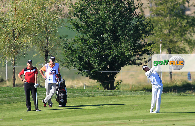 Lee Slattery (ENG) on the 18th fairway during Round 2 of the D&amp;D Real Czech Masters 2016 at the Albatross Golf Club, Prague on Friday 19th August 2016.<br /> Picture:  Thos Caffrey / www.golffile.ie<br /> <br /> All photos usage must carry mandatory copyright credit   (&copy; Golffile | Thos Caffrey)