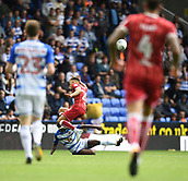 9th September 2017, Madejski Stadium, Reading, England; EFL Championship football, Reading versus Bristol City; Sone Aluko of Reading tackles Jamie Paterson of Bristol City