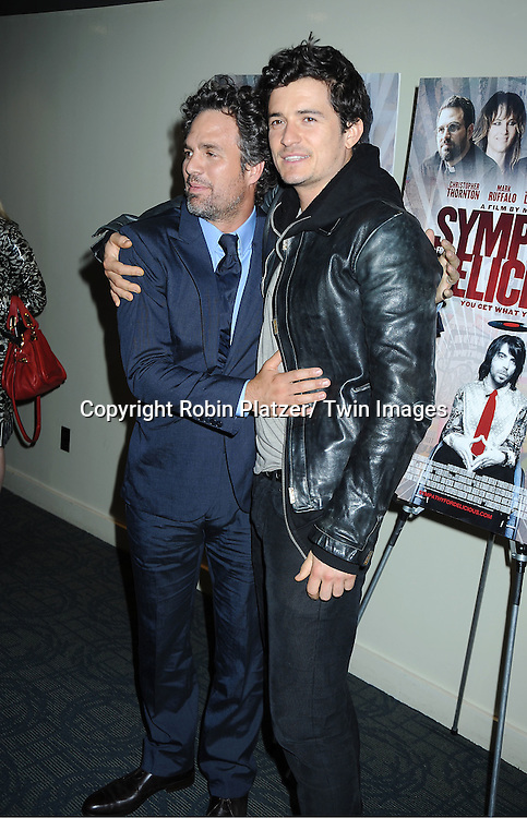 """Mark Ruffalo and Orlando Bloom attending the """"Sympathy For Delicious"""" special screening.on April 25, 2011 at The Sunshine Landmark Theatre in New York City. The movie stars Mark Ruffalo, Orlando Bloom, Laura Linney and Christopher Thornton."""