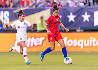 PHILADELPHIA, PA - AUGUST 29: Ana Borges #9 of Portugal defends Carli Lloyd #10 of the United States during a game between Portugal and the USWNT at Lincoln Financial Field on August 29, 2019 in Philadelphia, PA.