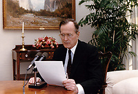 ***FILE PHOTO*** George H.W. Bush Has Passed Away<br /> United States President George H.W. Bush delivers an address to the nation by radio from the  White House in Washington, DC on January 5, 1991.<br /> CAP/MPI/RS<br /> &copy;RS/MPI/Capital Pictures