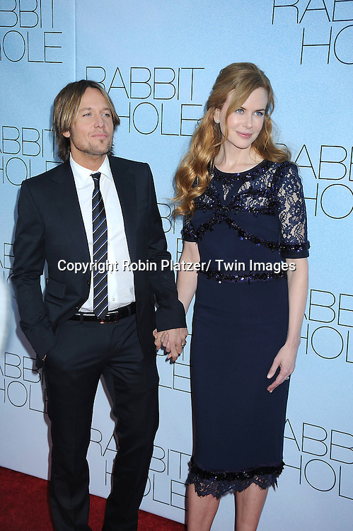 "Keith Urban and Nicole Kidman at the New York Premiere of ""Rabbit Hole"".on December 2, 2010 at The Paris Theatre. The film stars Nicole Kidman, Aaron Eckhart, Tammy Blanchard, Miles Teller, Giancarlo Esposito, Jon Tenney, and Sandra Oh."