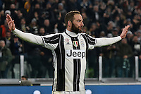 Calcio, semifinale di andata di Tim Cup: Juventus vs Napoli. Torino, Juventus Stadium, 28 febbraio 2017.<br /> Juventus&rsquo; Gonzalo Higuain celebrates after scoring during the Italian Cup semifinal first leg football match between Juventus and Napoli at Turin's Juventus stadium, 28 February 2017.<br /> UPDATE IMAGES PRESS/Manuela Viganti