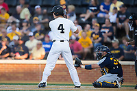 Stuart Fairchild (4) of the Wake Forest Demon Deacons at bat against the West Virginia Mountaineers in Game Four of the Winston-Salem Regional in the 2017 College World Series at David F. Couch Ballpark on June 3, 2017 in Winston-Salem, North Carolina.  The Demon Deacons walked-off the Mountaineers 4-3.  (Brian Westerholt/Four Seam Images)