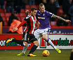 Billy Sharp of Sheffield Utd and David Wheater of Bolton Wanderers during the Championship match at Bramall Lane Stadium, Sheffield. Picture date 30th December 2017. Picture credit should read: Simon Bellis/Sportimage