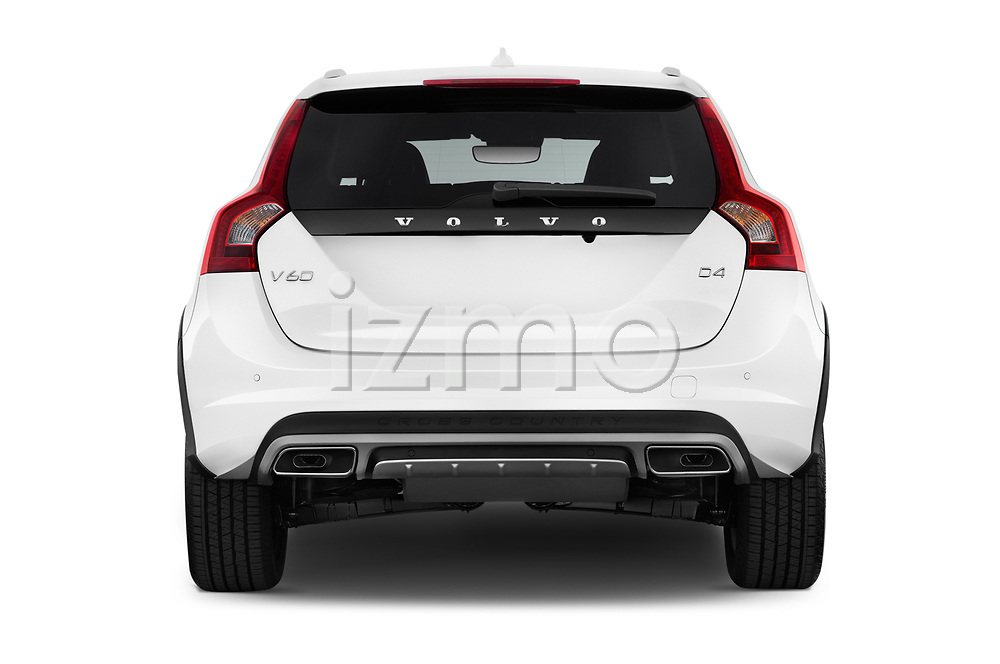 Straight rear view of 2017 Volvo V60-Cross-Country Summum 5 Door Wagon Rear View  stock images