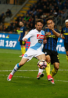 Dries Mertens of SSC Napoli  and Yuto Nagamoto  of InterN during the  italian serie a soccer match,between Inter FC  and SSC Napoli      at  the San Siro   stadium in Milan  Italy , April  30, 2017