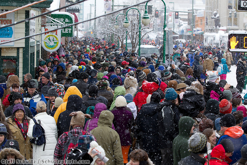March 3, 2012  fans line the street of 4th avenue at the Ceremonial Start of Iditarod 2012 in Anchorage, Alaska.