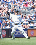 Masahiro Tanaka (Yankees),<br /> AUGUST 9, 2015 - MLB :<br /> Pitcher Masahiro Tanaka of the New York Yankees throws to first base on a ground out to end the top of the fourth inning during the Major League Baseball game against the Toronto Blue Jays at Yankee Stadium in the Bronx, New York, United States. (Photo by AFLO)