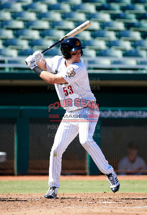 Mesa Solar Sox third baseman Bobby Borchering #53, of the Houston Astros organization, during an Arizona Fall League game against the Peoria Javelinas at HoHoKam Park on October 15, 2012 in Mesa, Arizona.  Peoria defeated Mesa 9-2.  (Mike Janes/Four Seam Images)