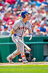 29 April 2017: New York Mets outfielder Michael Conforto hits a 2-run homer in the 5th inning against the Washington Nationals at Nationals Park in Washington, DC. The Mets defeated the Nationals 5-3 to take the second game of their 3-game weekend series. Mandatory Credit: Ed Wolfstein Photo *** RAW (NEF) Image File Available ***