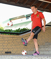 2017022 - GILZE , NETHERLANDS :  Davina Philtjens pictured during a bucket challenge organised by the camera team of UEFA at the Van Der Valk Hotel in Gilze , The Netherlands PHOTO SPORTPIX.BE | DIRK VUYLSTEKE