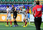 The Hague, Netherlands, June 08: Marcus Child #13 of New Zealand and Maximilian Mueller #4 of Germany gesture during the field hockey group match (Men - Group B) between the Black Sticks of New Zealand and Germany on June 8, 2014 during the World Cup 2014 at Kyocera Stadium in The Hague, Netherlands.  Final score 3-5 (1-3) (Photo by Dirk Markgraf / www.265-images.com) *** Local caption *** Steven Edwards #31 of New Zealand, +20+, Marcus Child #13 of New Zealand, Maximilian Mueller #4 of Germany