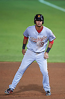 Salt River Rafters third baseman Drew Ward (9) leads off first during an Arizona Fall League game against the Scottsdale Scorpions on October 14, 2015 at Scottsdale Stadium in Scottsdale, Arizona.  Scottsdale defeated Salt River 13-3.  (Mike Janes/Four Seam Images)