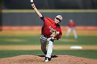 Gardner-Webb Runnin' Bulldogs starting pitcher Landon Mitchell (11) delivers a pitch to the plate against the Wake Forest Demon Deacons at David F. Couch Ballpark on February 18, 2018 in  Winston-Salem, North Carolina. The Demon Deacons defeated the Runnin' Bulldogs 8-4 in game one of a double-header.  (Brian Westerholt/Four Seam Images)