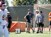 Occidental College President Jonathan Veitch, Vance Mueller '86 and son Shay Mueller '15, Football Action Team<br /> The Occidental Tigers football team plays against Willamette University in Jack Kemp Stadium on Saturday, Sept. 15, 2018. It was their first home game of the season and second game of the season. Willamette won, 25-6.<br /> (Photo by Marc Campos, Occidental College Photographer)