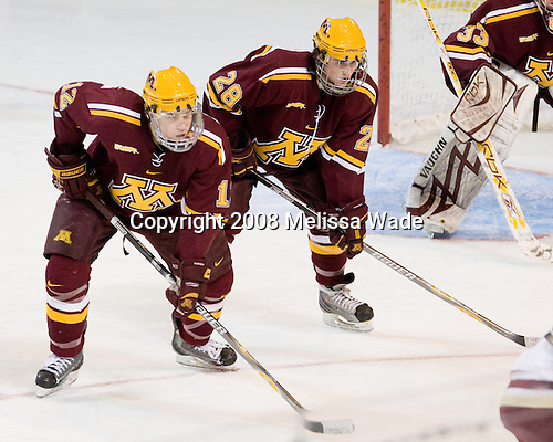 Tony Lucia (Minnesota - 12), Cade Fairchild (Minnesota - 28) - The Boston College Eagles defeated the University of Minnesota Golden Gophers 5-2 on Saturday, March 29, 2008, in the NCAA Northeast Regional Semi-Final at the DCU Center in Worcester, Massachusetts.